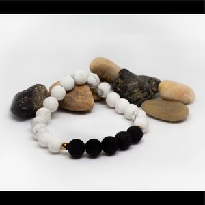 Jewelry - White Marble &  Volcanic Rock W/ Golden Accents